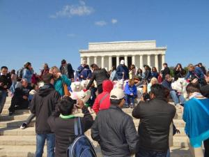 We were mobbed at the Lincoln Memorial